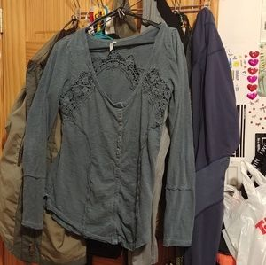 Free people blue half button down henley